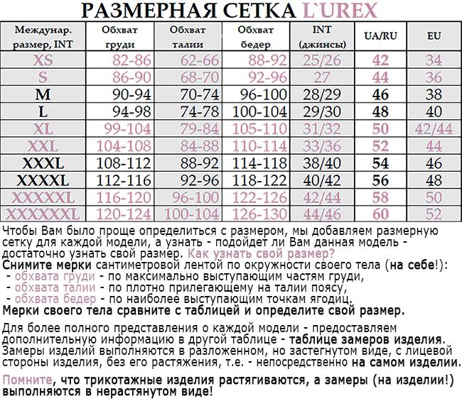 Размерная сетка LUREX
