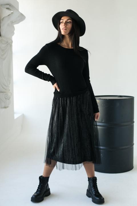 Шикарное платье с двойной юбкой в серебряную полоску