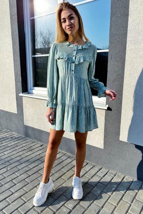 Стильное котоновое платье в мелкий принт с рюшами и пуговицами