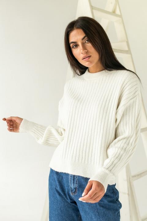 Вязаный свитер со свободным рукавом