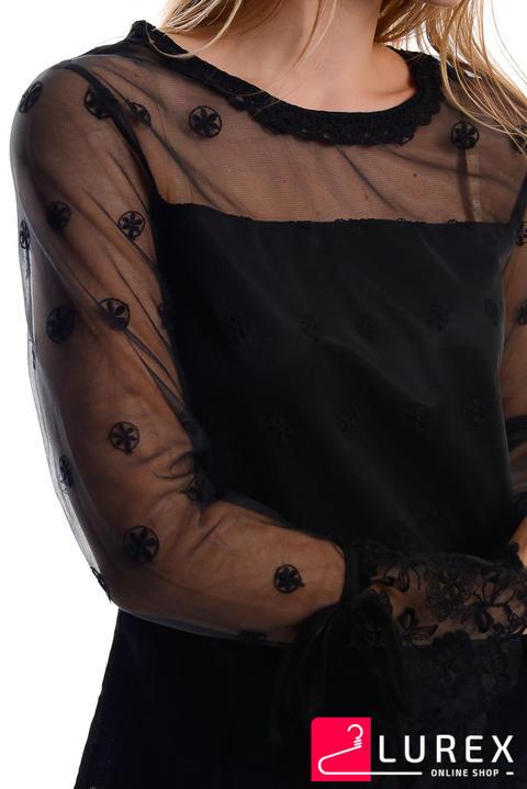 61de35b8212 ... Фото 6 модели 5580 Блуза из органзы с цветочной вышивкой - черная ...
