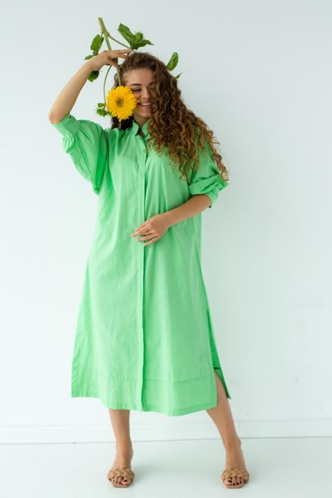 Хлопковое платье на пуговицах под пояс
