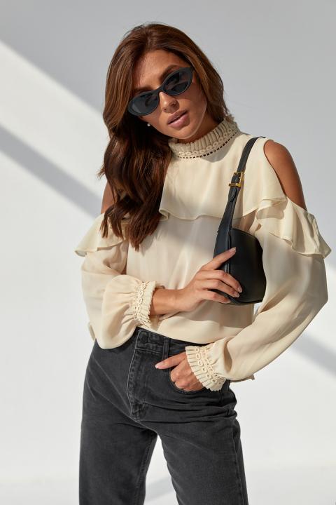 Фото 1 модели 3076 Шифоновая блуза с обнаженными плечами Last Girl - кремовая