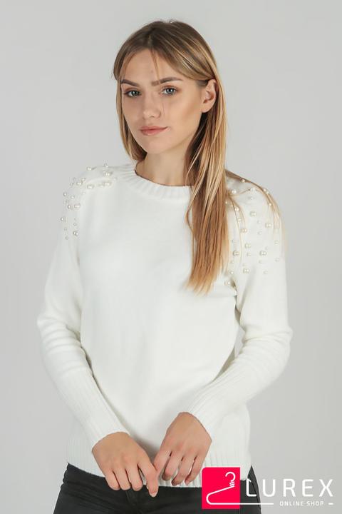 Фото 8 модели 2033-5 Реглан с жемчужной россыпью на плечах LUREX - белый