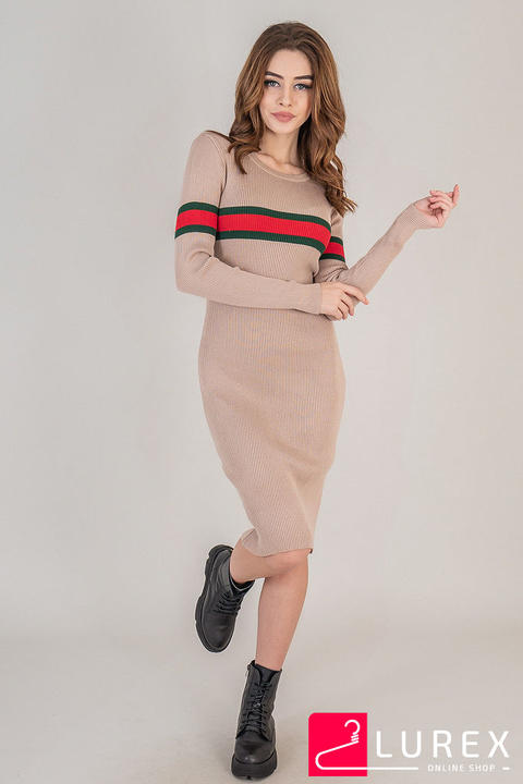 Фото 3 модели 315 Платье с горизонтальной полоской LUREX - кофейное