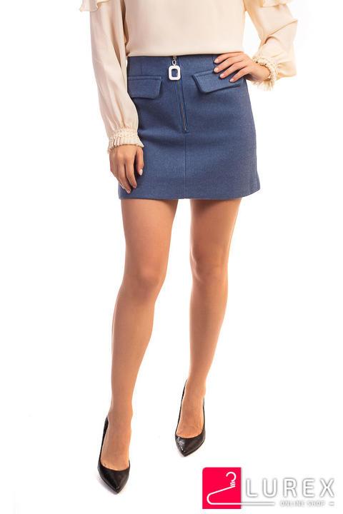 Фото 6 модели 876 Теплая юбка с молнией спереди LUREX - синяя
