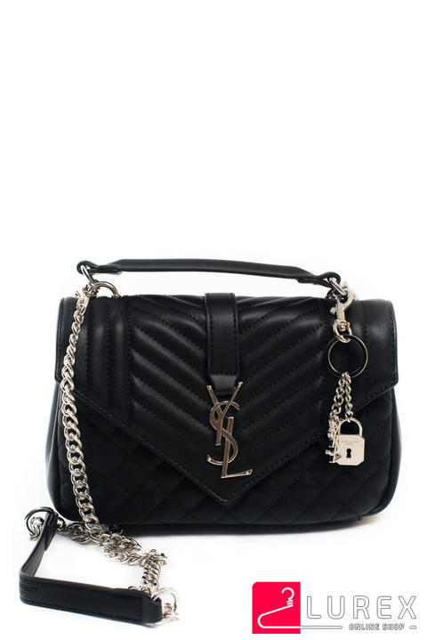 e3616a664a62 Фото 4 модели 1361 Женская сумка YSL с цепочкой и брелоком - черная ...