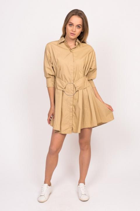 Фото 1 модели 6836 Платье рубашка с кольцом на поясе Yingzi - кофейное