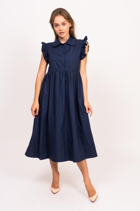 Фото 8 модели 13253 Современное платье с рюшами Babaris - синее