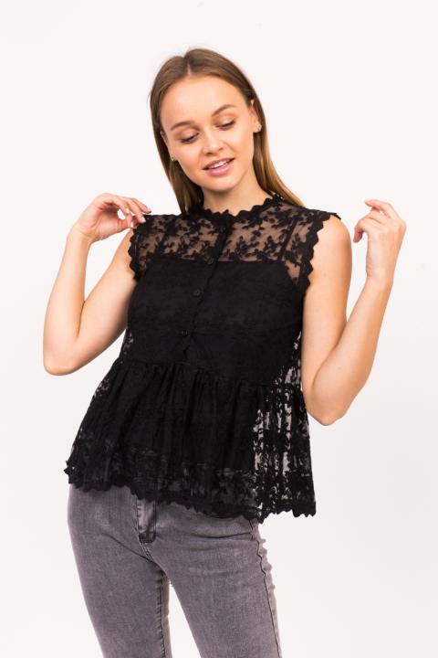 491feb4775f Фото 10 модели 896 Прозрачная блузка без рукавов LUREX - черная
