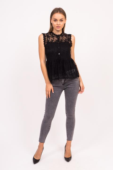 80144150b4564e2 Фото 10 модели 896 Прозрачная блузка без рукавов LUREX - черная ...