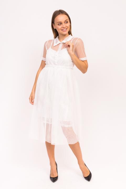 7cc09ed1521 Фото 5 модели 919 Вечернее платье с фатиновой юбкой A-M - белое