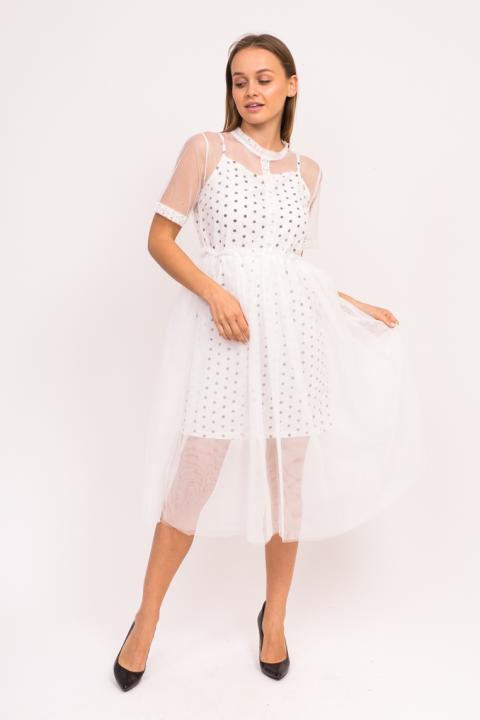 Фото 10 модели 921 Нарядное фатиновое платье с коротким рукавом A-M - белое