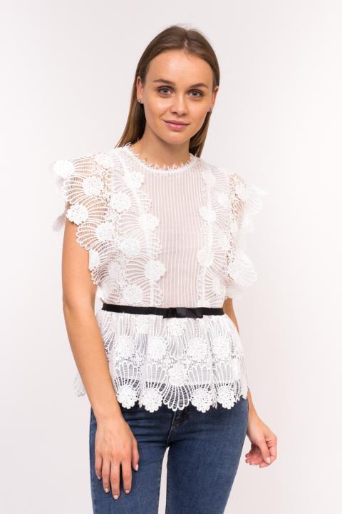 a30b899e0f3 ... Фото 8 модели 906-1 Оригинальная женская блузка с коротким рукавом Emry  - белая ...