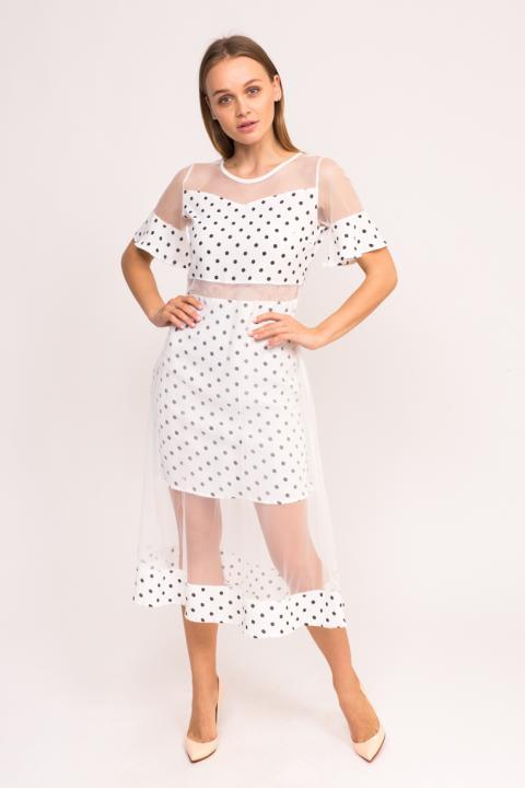 d8577661c85 Фото 1 модели 6812-1 Длинное платье в горох KDY - белое