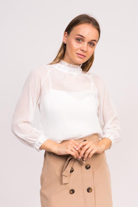 Фото 3 модели 8002 Стильная блузка с жемчугом LUREX - белая