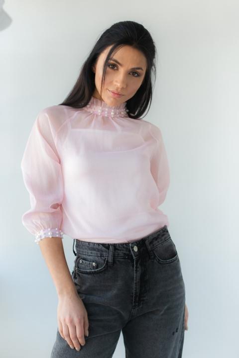 Фото 8 модели 8002 Стильная блузка с жемчугом LUREX - пудровая