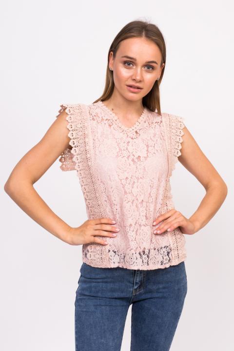 5690c07c89f Фото 4 модели 9315 Кружевная блузка с V-образным вырезом Yijiami - пудровая