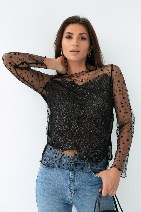 479ca3b708f ... Фото 1 модели 1017 Прозрачная блуза из фатина - черная ...