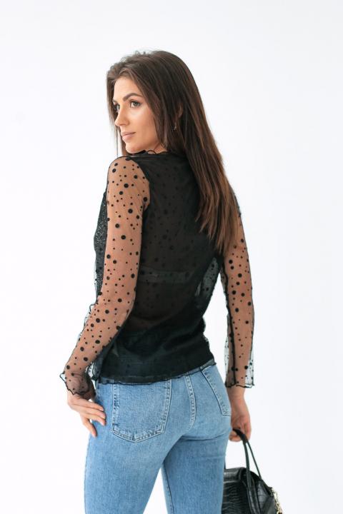 3134a560b65 Фото 2 модели 1017 Прозрачная блуза из фатина - черная  Фото 3 ...