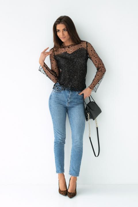 29e346e849c ... Фото 3 модели 1017 Прозрачная блуза из фатина - черная ...