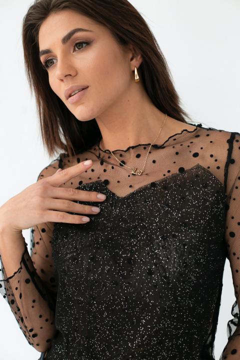 422a04f0eb3 ... Фото 4 модели 1017 Прозрачная блуза из фатина - черная ...