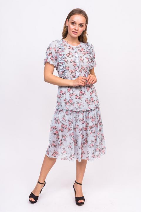 Фото 2 модели 228 Милое платье с розочками и рюшами LUREX - голубое