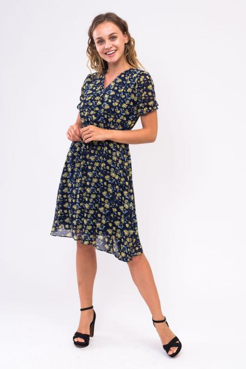 Фото 3 модели 196-1 Летнее платье с запахом LUREX - темно-синее