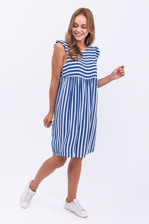 Фото 1 модели P14-1 Платье широкая полоска LUREX - синее