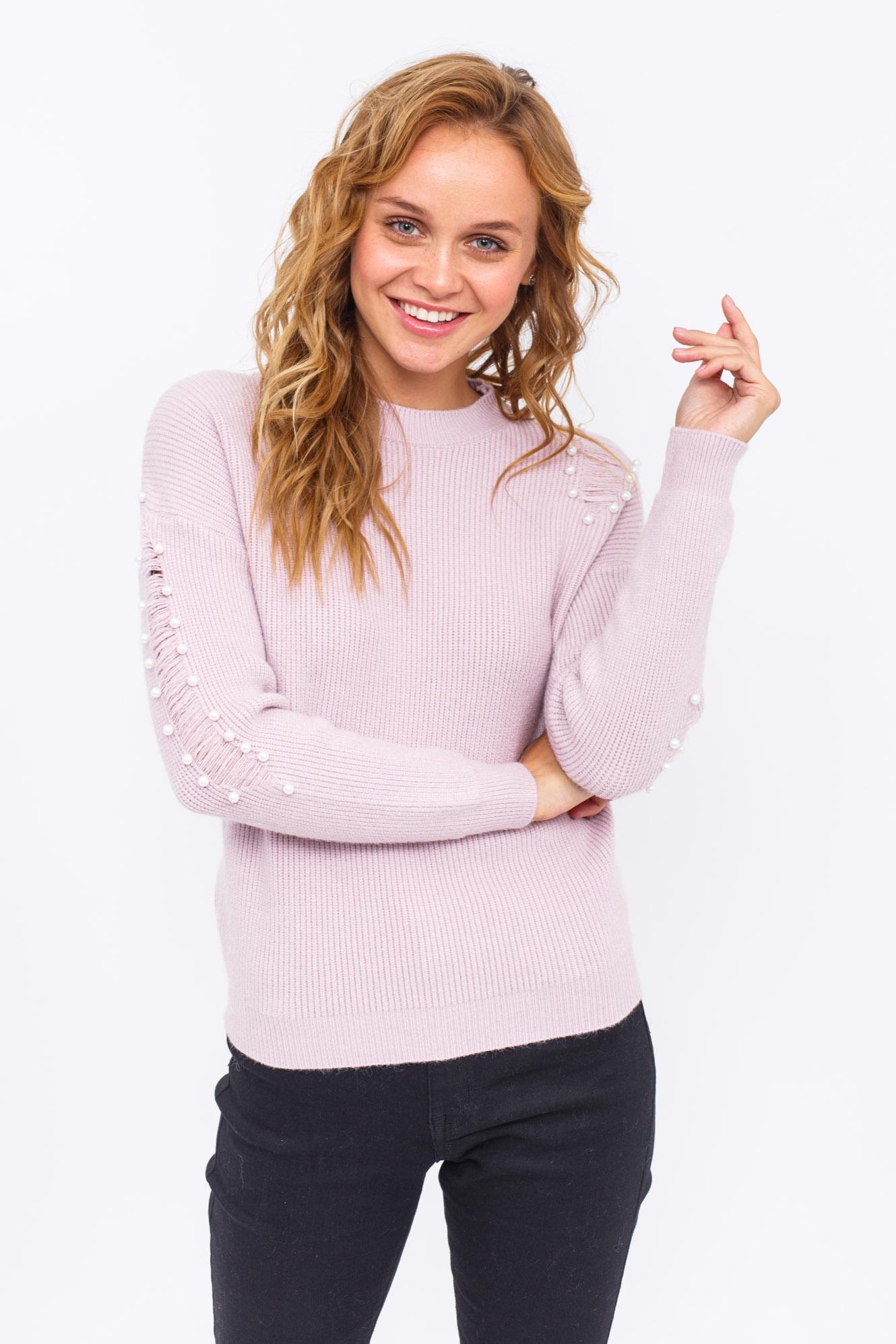 Стильный джемпер с жемчугом LUREX - розовый цвет
