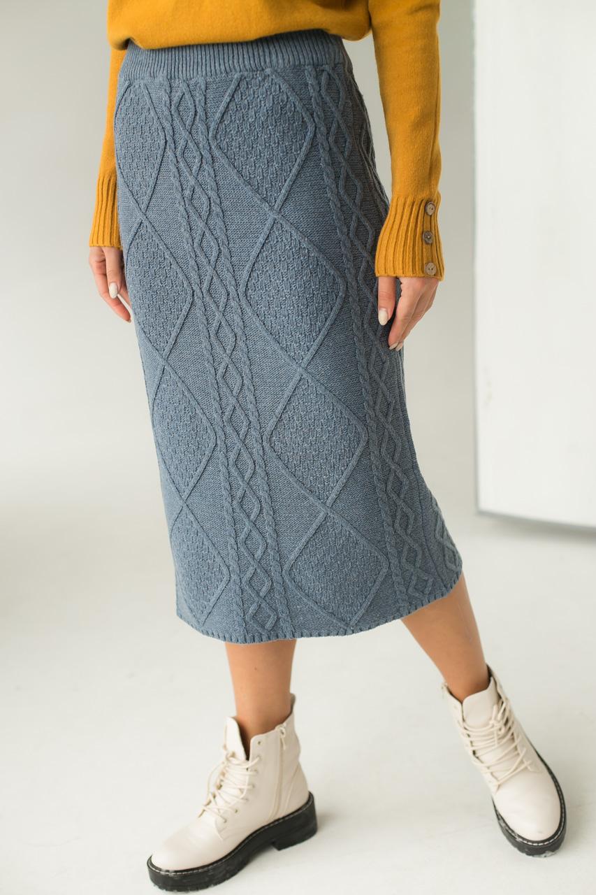 Теплая вязаная юбка LUREX - серый цвет