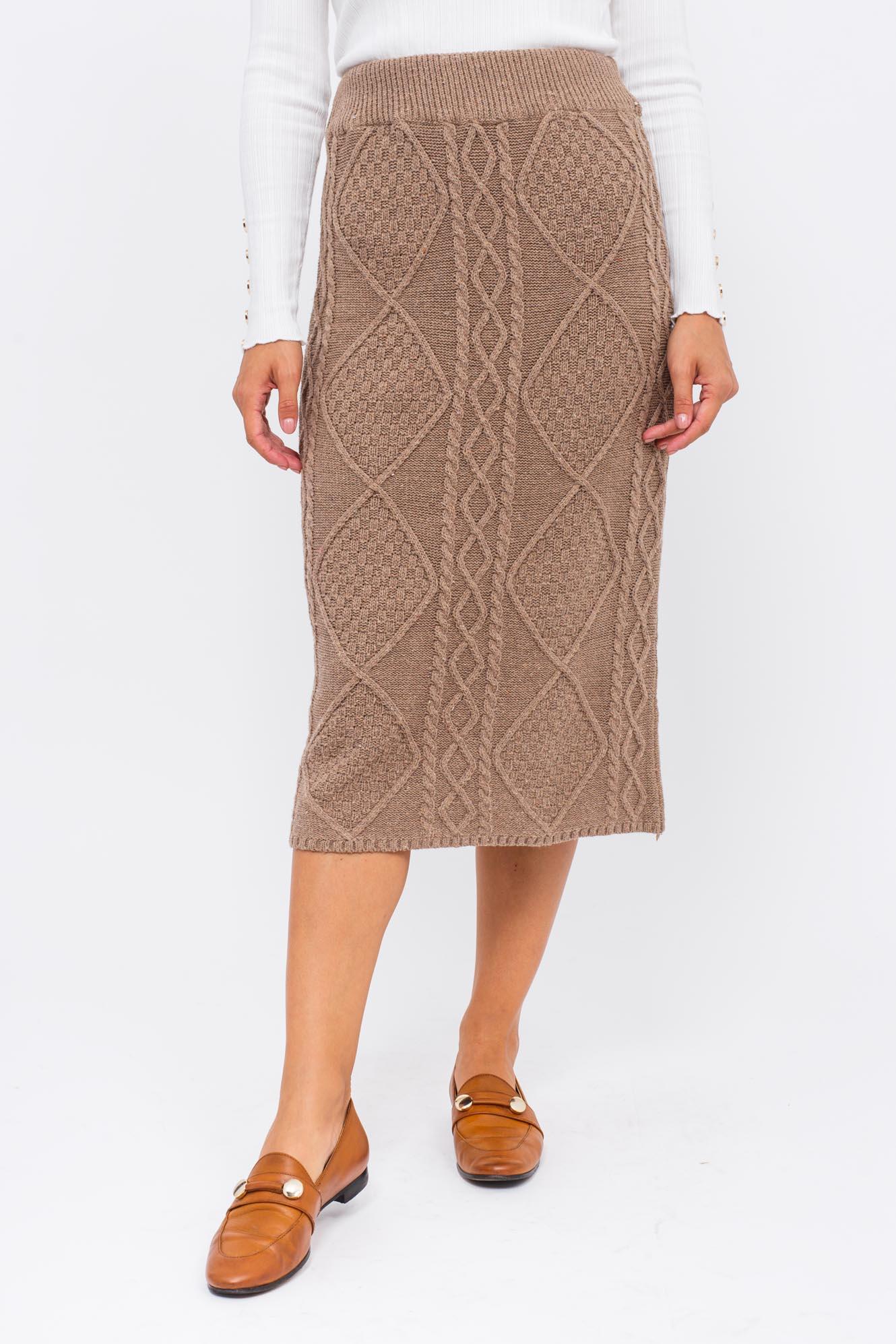 Теплая вязаная юбка LUREX - коричневый цвет
