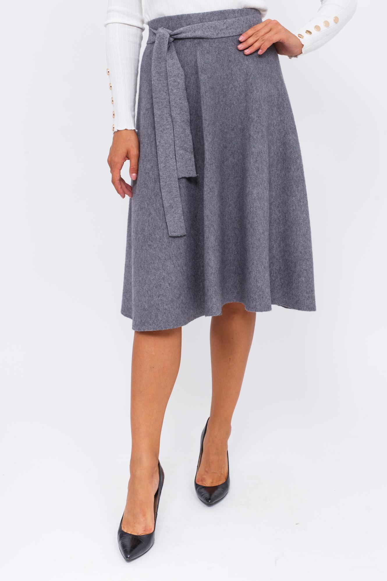 Теплая юбка с пояском LUREX - серый цвет