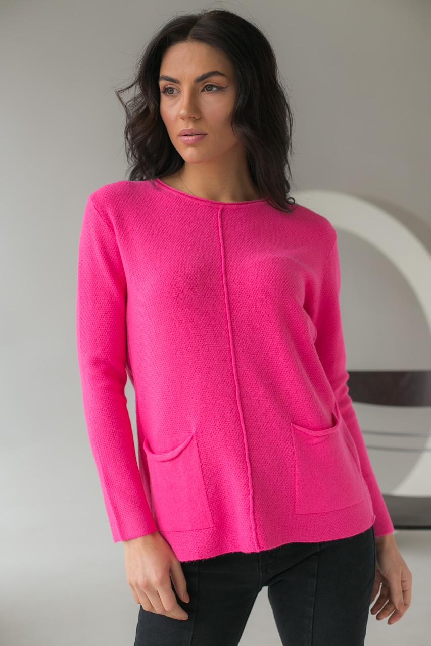 Джемпер с накладными карманами P-M - розовый цвет
