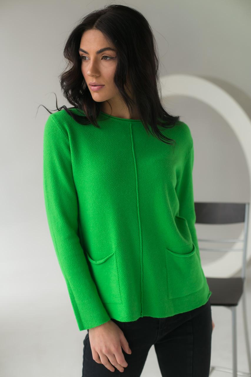 Джемпер с накладными карманами P-M - зеленый цвет