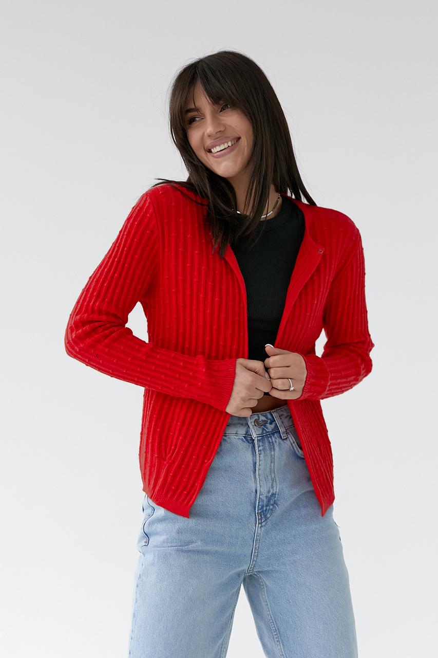 Короткий кардиган со стильным узором P-M - красный цвет