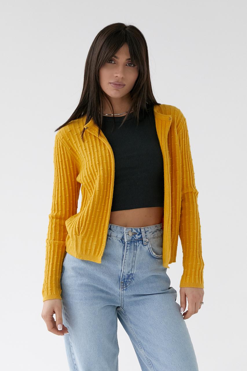 Короткий кардиган со стильным узором P-M - желтый цвет