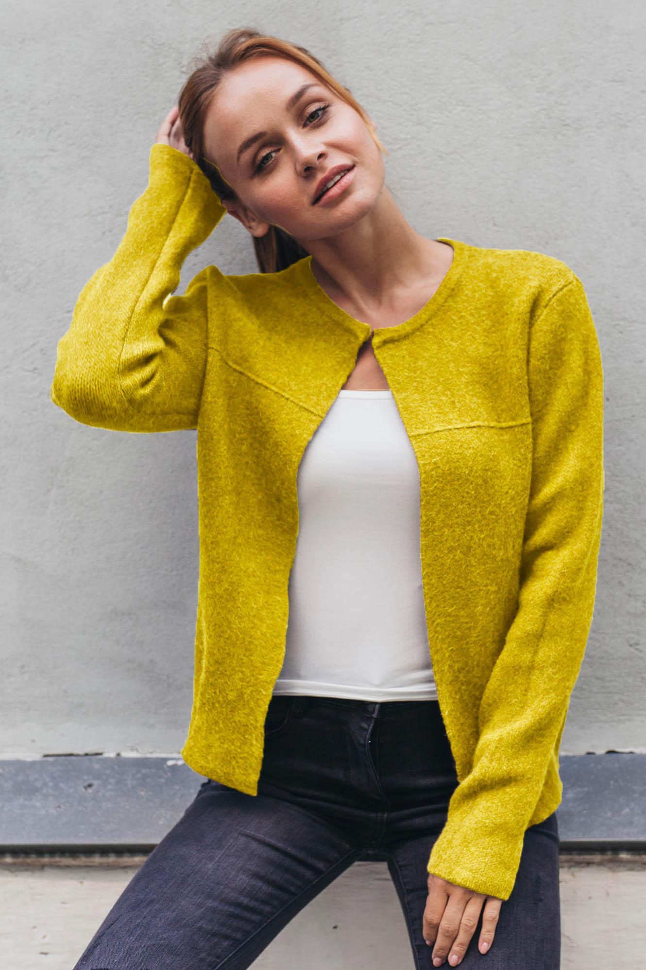 Стильный короткий кардиган P-M - желтый цвет