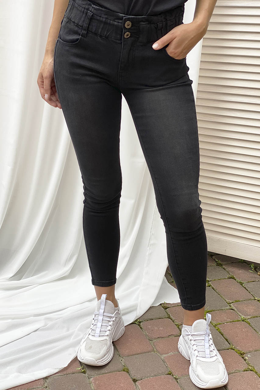 Узкие джинсы на широкой резинке Re-Dress - черный цвет