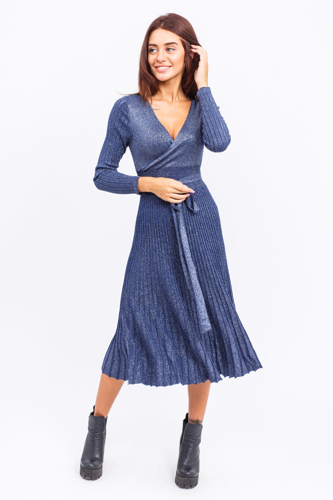 Платье на запах с поясом люрекс LUREX - синий цвет