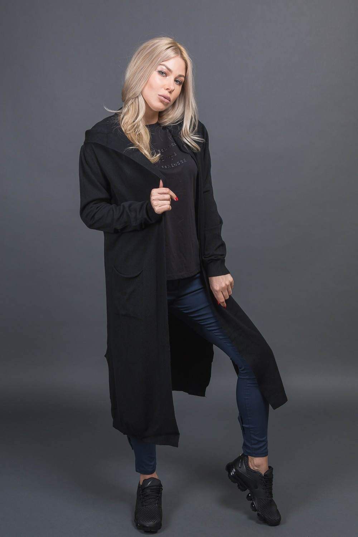 Классический кардиган с капюшоном PPF style - черный цвет