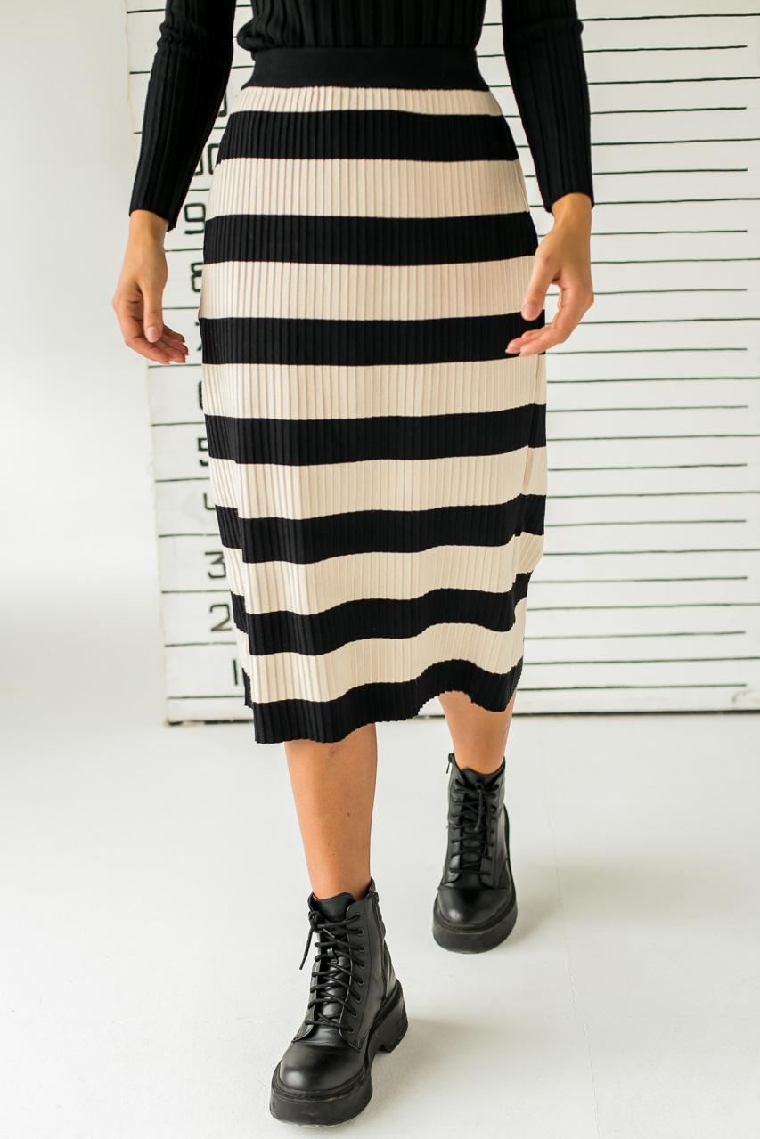 Длинная трикотажная юбка с широкими полосками LUREX - черный цвет