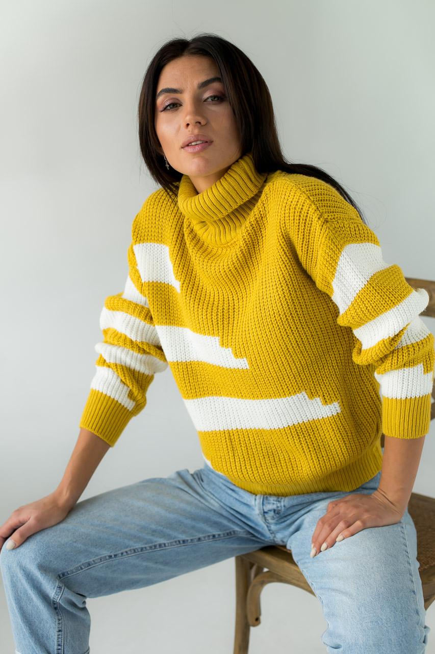 Свитер крупной вязки с широкими полосками LUREX - горчичный цвет