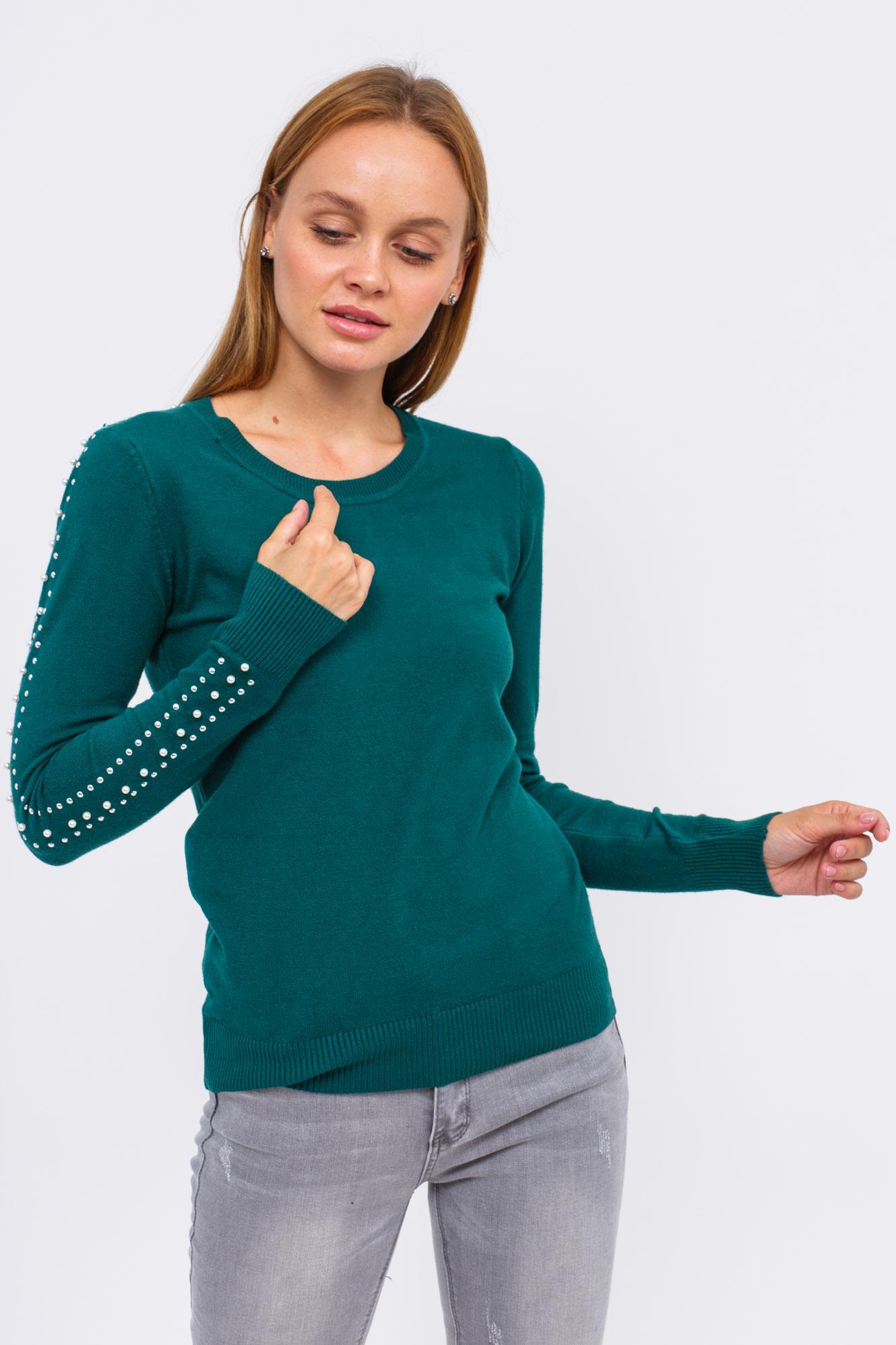 Джемпер с бусинами в виде лампас LUREX - зеленый цвет
