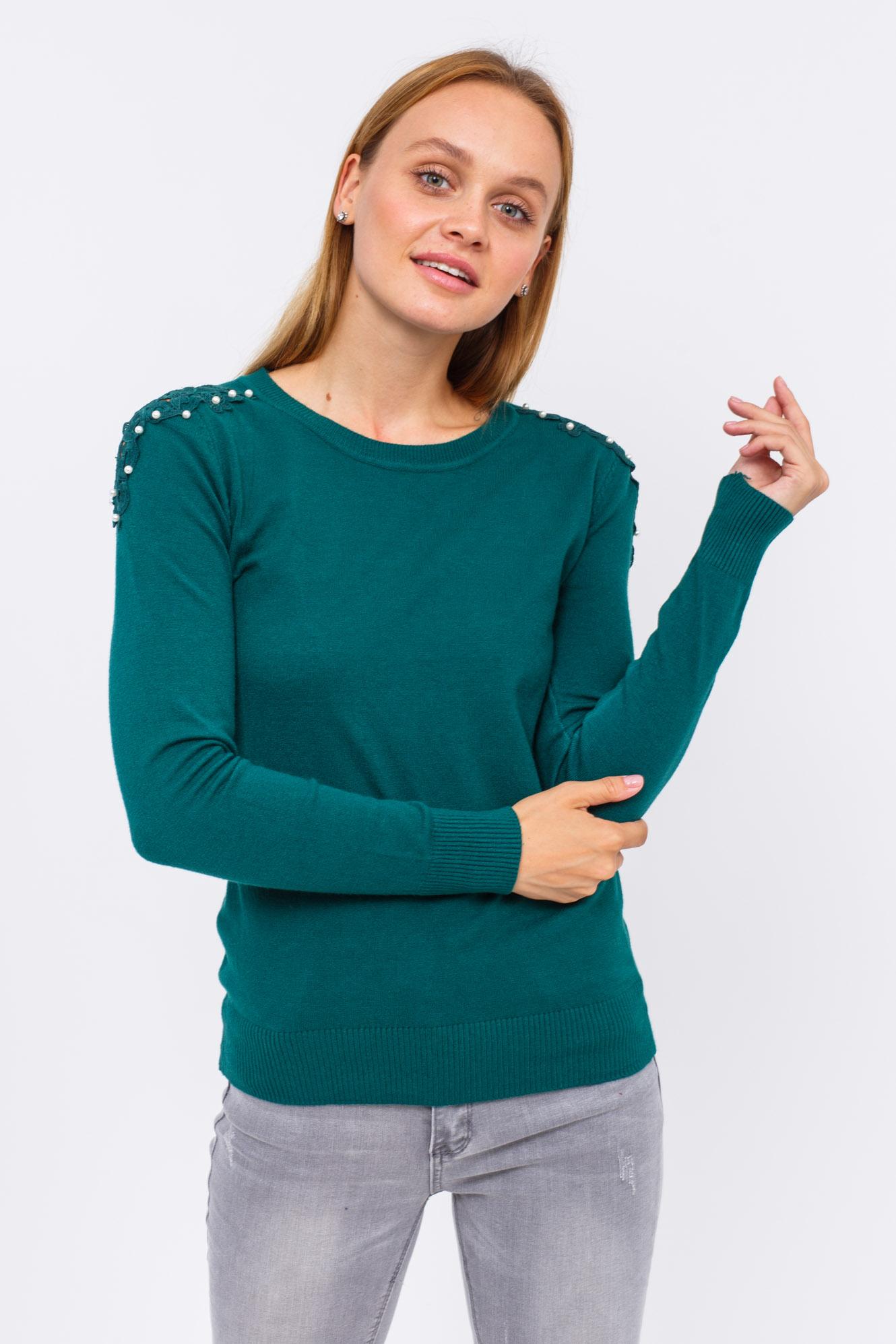 Джемпер с изящным кружевом и бусинами на плечах LUREX - зеленый цвет