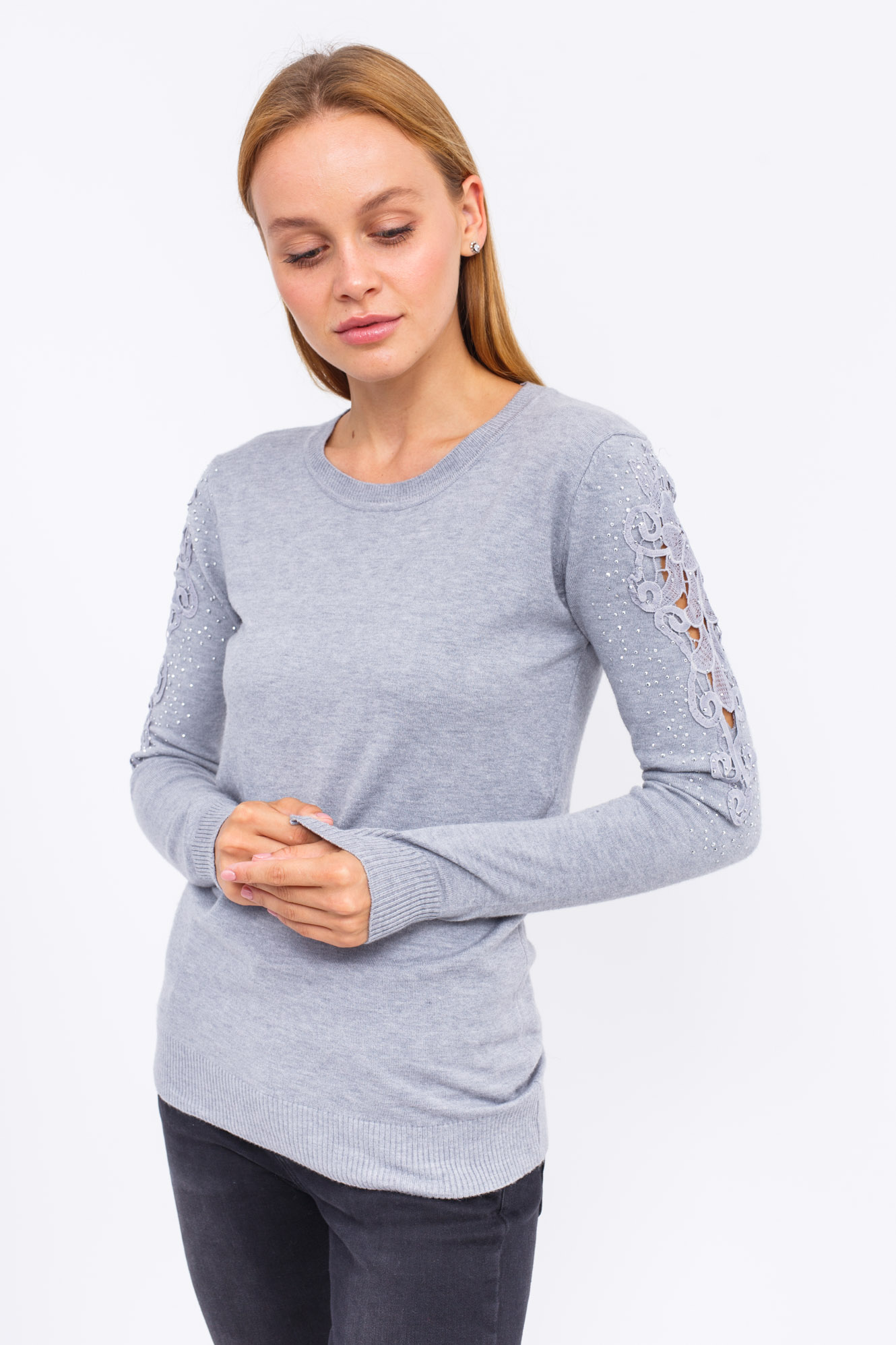 Джемпер с кружевом и блестящими мелкими заклепками на рукавах LUREX - серый цвет