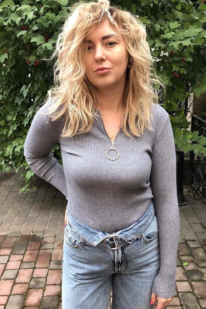 Обтягивающий джемпер-пуловер на молнии с кольцом LUREX - серый цвет