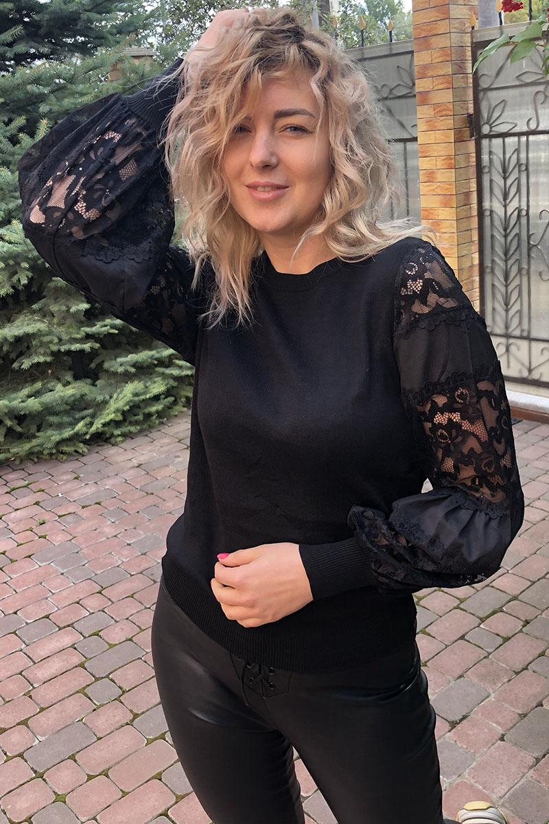 Нарядный джемпер с объмными гипюровыми рукавами LUREX - черный цвет