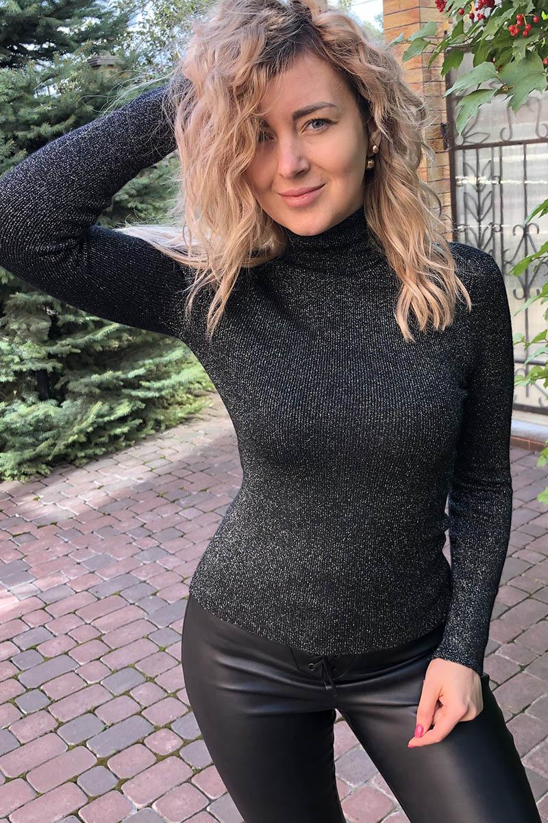 Мягкий гольф-водолазка с люрексом LUREX - черный цвет