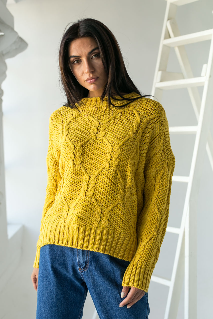 Джемпер ажурной толстой вязки с красивым узором LUREX - горчичный цвет